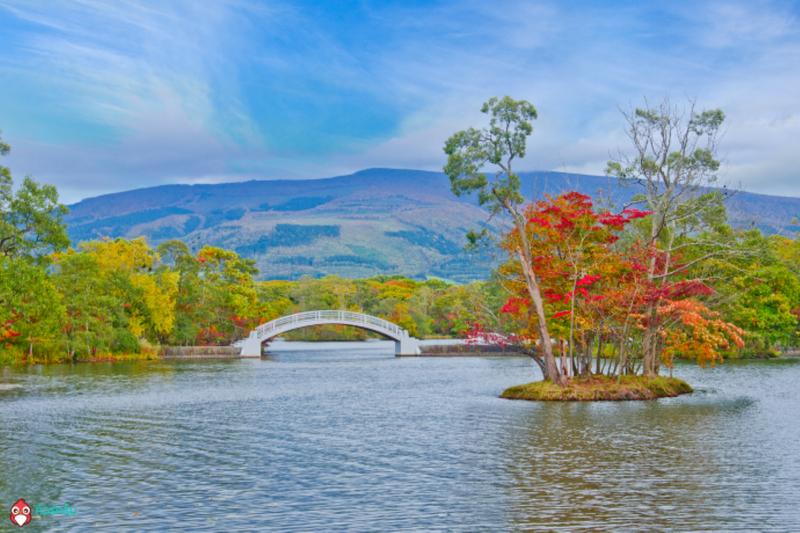 Autumn season lake view in onuma national park and Mt. Komagatake ,Hokkaido, Japan.